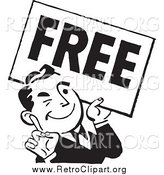 Clipart of a Retro Black and White Man with a Free Sign by BestVector