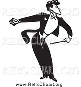 Clipart of a Retro Black and White Music Conductor Bowing by BestVector