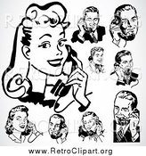 Clipart of a Retro Black and White People Using Telephones by BestVector