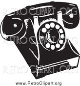 Clipart of a Retro Black and White Phone by BestVector