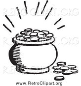 Clipart of a Retro Black and White Pot of Coins with Light by BestVector