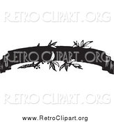Clipart of a Retro Black and White Ribbon Banner with Leaves by BestVector
