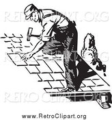 Clipart of a Retro Black and White Roofer by BestVector