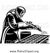 Clipart of a Retro Black and White Sand Blaster Man Working by Patrimonio