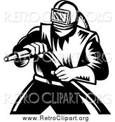 Clipart of a Retro Black and White Sand Blaster Worker Man Holding a Hose by Patrimonio