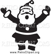 Clipart of a Retro Black and White Shouting Santa by BestVector