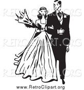 Clipart of a Retro Black and White Wedding Couple Walking Arm in Arm by BestVector