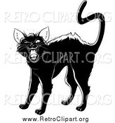 Clipart of a Retro Black Cat Arching Its Back, Twitching Its Tail and Hissing by Lawrence Christmas Illustration