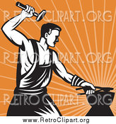 Clipart of a Retro Blacksmith Hammering over Orange Rays by Patrimonio