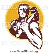 Clipart of a Retro Blacksmith Man with a Hammer over a Yellow Circle by Patrimonio