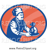 Clipart of a Retro Blue and White Chef Serving Money in an Orange Oval by Patrimonio