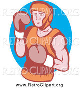Clipart of a Retro Boxer over in a Blue Oval by Patrimonio