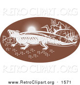 Clipart of a Retro Brown and White Tuatara Lizard by Patrimonio