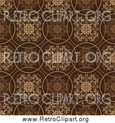 Clipart of a Retro Brown Circle and Floral Background by Michaeltravers