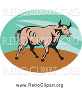 Clipart of a Retro Bull in a Green Sunshine Oval by Patrimonio