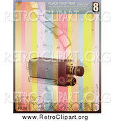 Clipart of a Retro Camera with a Strip of Film over Rainbow Stripes with Sample Text and Grunge by Anja Kaiser