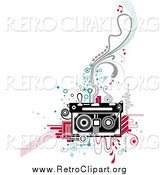 Clipart of a Retro Cassette Tape and Flourishes by BNP Design Studio