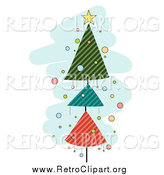 Clipart of a Retro Christmas Tree of Striped Triangles over Blue by BNP Design Studio