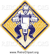 Clipart of a Retro Construction Man Operating a Jackhammer by Patrimonio