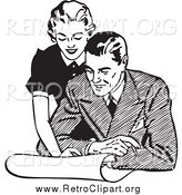 Clipart of a Retro Couple Looking at Real Estate by BestVector