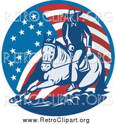 January 20th, 2014: Clipart of a Retro Cowboy and Horse in an American Flag Circle by Patrimonio