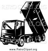 Clipart of a Retro Dump Truck by Patrimonio
