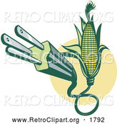 Clipart of a Retro Electric Plug Emerging from Corn by Patrimonio