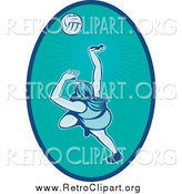 Clipart of a Retro Female Volleyball Player in a Turquoise Oval by Patrimonio