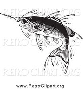 Clipart of a Retro Fish Swimming Towards a Lure by BestVector