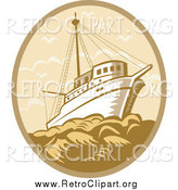 Clipart of a Retro Fishing Boat at Sea in a Tan and Brown Oval by Patrimonio