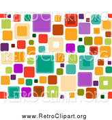Clipart of a Retro Funky Seamless Pattern of Squares over White by BNP Design Studio
