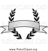 Clipart of a Retro Grayscale Award Crest and Blank Banner by BestVector