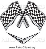Clipart of a Retro Grayscale Racing Flags over a Chevron Symbol by Patrimonio