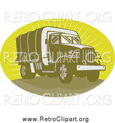 Clipart of a Retro Green Army Truck in an Oval of Rays by Patrimonio