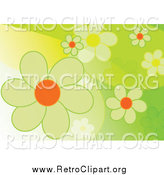 Clipart of a Retro Green Flower Spring Background by