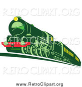 Clipart of a Retro Green Train by Patrimonio