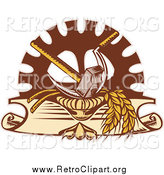 Clipart of a Retro Hammer Sickle Gear Cog and Wheat Design by Patrimonio