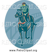 Clipart of a Retro Horseback Jockey in a Blue Oval by Patrimonio