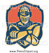 Clipart of a Retro Knight with Folded Arms and a Shield by Patrimonio