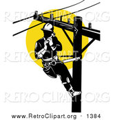 Clipart of a Retro Lineman on a Pole Against a Sunset by Patrimonio