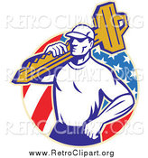 Clipart of a Retro Locksmith Man Carrying a Key over an American Circle by Patrimonio