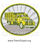 Clipart of a Retro Lorry Truck in an Oval of Rays by Patrimonio