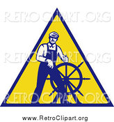 Clipart of a Retro Male Captain Steering a Helm on a Yellow Sign by Patrimonio