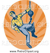 Clipart of a Retro Male Construction Worker Logo and Hook by Patrimonio