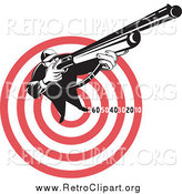 Clipart of a Retro Male Hunter Aiming Upwards and to the Right over a Red Target by Patrimonio