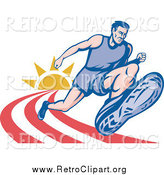 Clipart of a Retro Male Marathon Runner on a Track with a Sun by Patrimonio