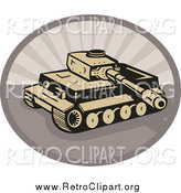 Clipart of a Retro Military Tank over an Oval by Patrimonio