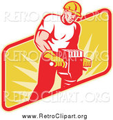 Clipart of a Retro Muscular Jackhammer Operator by Patrimonio
