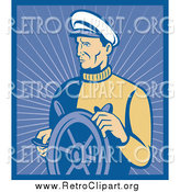 Clipart of a Retro Nautical Captain with a Ship Helm by Patrimonio