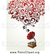 Clipart of a Retro Phonograph Music Player with Red Swirly Vines by OnFocusMedia